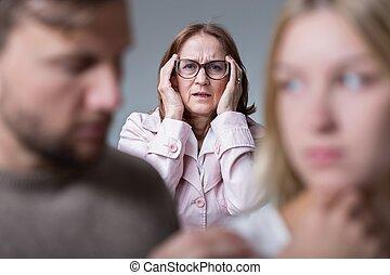 problema, matrimonio, suegra
