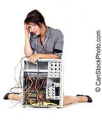 problema, mujer, computadora