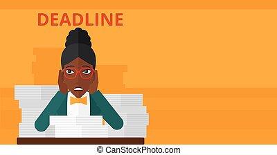 problema, mulher, deadline., tendo