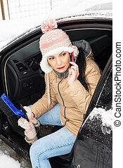problema, neve, mulher, car, tendo