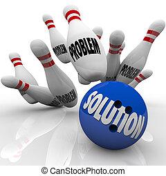 problema, solución, solucionado, bola de bowling, alfileres