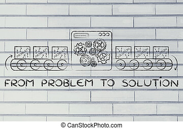 problema, solution:, fábrica, ilustração