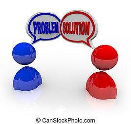 problema, y, solución, ayuda al cliente, servicio, ayuda