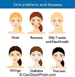 problemas, enfermedades, piel