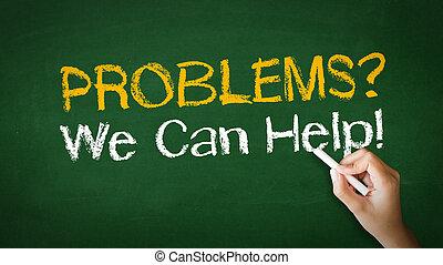 problemas, nós, lata, ajuda, giz, ilustração