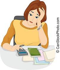 problemas, niña, cuentas, calculadora