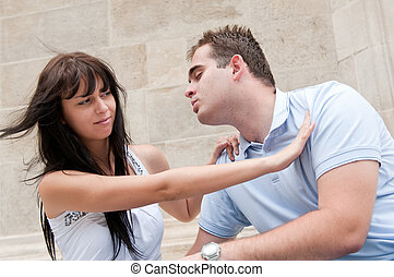 problemas relacionamento, par, -, jovem, ao ar livre