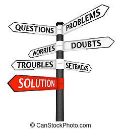 problemas, y, solución, poste indicador