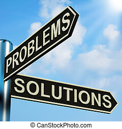 problemen, of, oplossingen, richtingen, op, een, wegwijzer