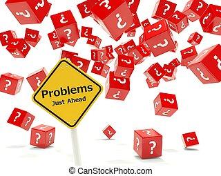 problemi, giusto, avanti, segno strada