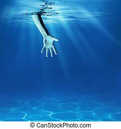 problemlösning, concept., ge sig, hjälp lämna, in, hav, underwater.