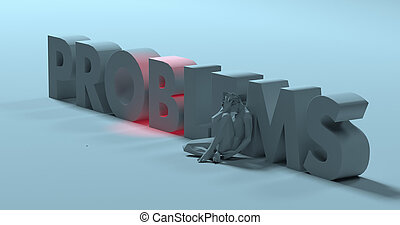 Problems - 3d render text sign, near sad stressed man, illustration