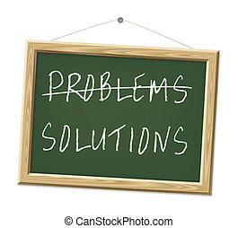 problems and solutions - A chalk board with the words...