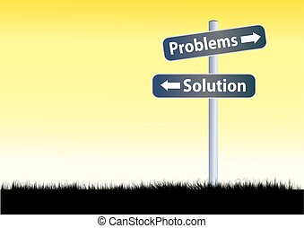Problems and solutions road sign illustration