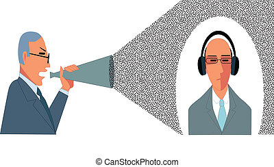 Problems in communication - Businessman yell in a bullhorn...