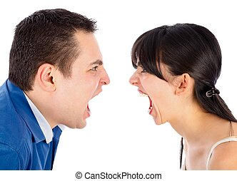 Problems in relationships - Young couple nervously shouting ...