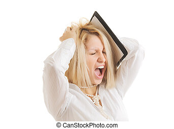 Problems - picture of stressed businesswoman, isolated on...
