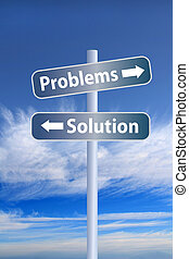 Problems vs solution ahead road sign 1