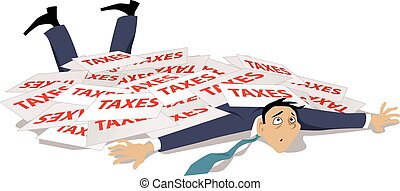 Man, knocked down and buried under a pile of taxes, EPS 8 vector illustration, no transparencies