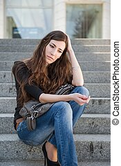 Problems - young woman outdoor portrait
