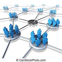 problemy, sieć, drużyna