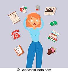 problemy, work., telefon, pojęcie, burza, praca, calls., kobieta, siła, pieniądze, otoczony, shedule, kalendarz, wektor, mózg, illustration., dama, panika