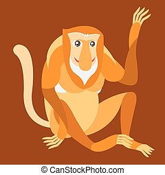 Proboscis Monkey. Outline with color background. Vector illustration.