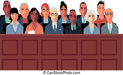 procès, illustration, jury