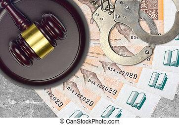 procès, marteau, juge, bribery., factures, ou, action éviter, tchèque, concept, menottes, 200, judiciaire, police, impôt, desk., korun, tribunal