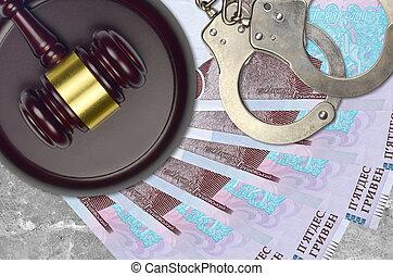 procès, marteau, juge, hryvnias, 50, bribery., ukrainien, factures, ou, action éviter, concept, menottes, judiciaire, police, impôt, desk., tribunal