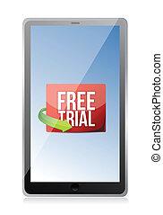 procès, message, tablette, gratuite