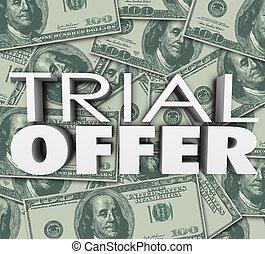 procès, offre, 3d, mots, argent, fond, sauver, espèces