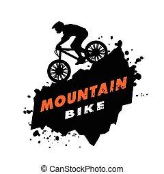 procès, vélo tout terrain, emblem.
