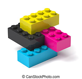 procédé impression, bâtiment, 3d, couleurs, blocs, quatre