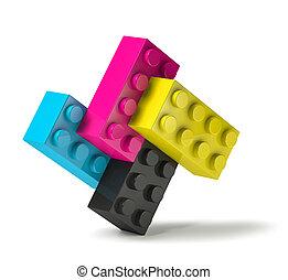 procédé impression, bâtiment, 3d, couleurs, debout, blocs, quatre