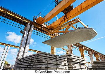 procédé industriel, ouvrier, lever, béton, construction, opération, dalle