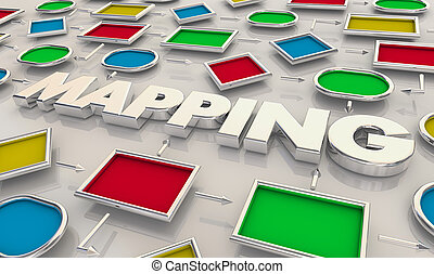 procédés, tâches, business, tracer, illustration, étapes, étapes, 3d