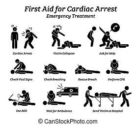 procédures, traitement, aide, réponse, figure bâton, icons., arrestation, urgence, cardiaque, premier