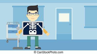 procedimiento, vector, rayo, x, paciente, ilustración, ...
