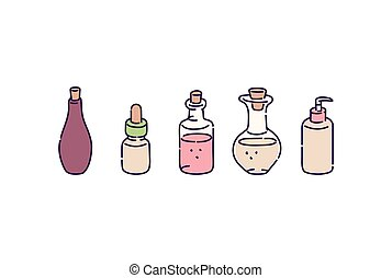 procedur, flaskor, isolated., skiss, illustration, kurort, ...