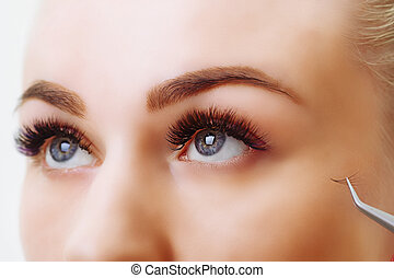 procedure., の上, 女性の目, eyelashes., 拡張, まつげ, 長い間, 焦点を合わせなさい。, ...
