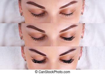 procedure., 眼睛, 伸展, 比較, 睫毛, after., 女性, 以前