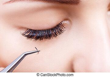 procedure., auf, frau auge, eyelashes., verlängerung, wimper...