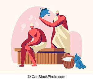 procedure., bain, spa, thérapie, banc, autre, battement, corps, plat, wellness, séance, couple, hommes, illustration, sauna, eau, hygiène, dessin animé, soin, salle, balai, bois, relaxation, vecteur, chaque, vapeur