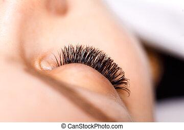 procedure., ciglia, occhio donna, estensione, ciglio, lungo