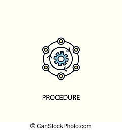 procedure concept 2 colored line icon. Simple yellow and blue element illustration. procedure concept outline design