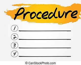 Procedure Blank List, vector concept background