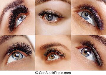 procedure., eyes., 女, まつげ, 激しく打つ, 長い間, 美しい, salon., 拡張, 美しさ, コラージュ