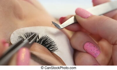 procedure., haut, oeil femme, eyelashes., extension, cil, mèches, long, foyer., sélectif, macro, fin