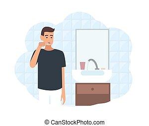 procedure., higiene, espejo, posición, cuarto de baño, ...